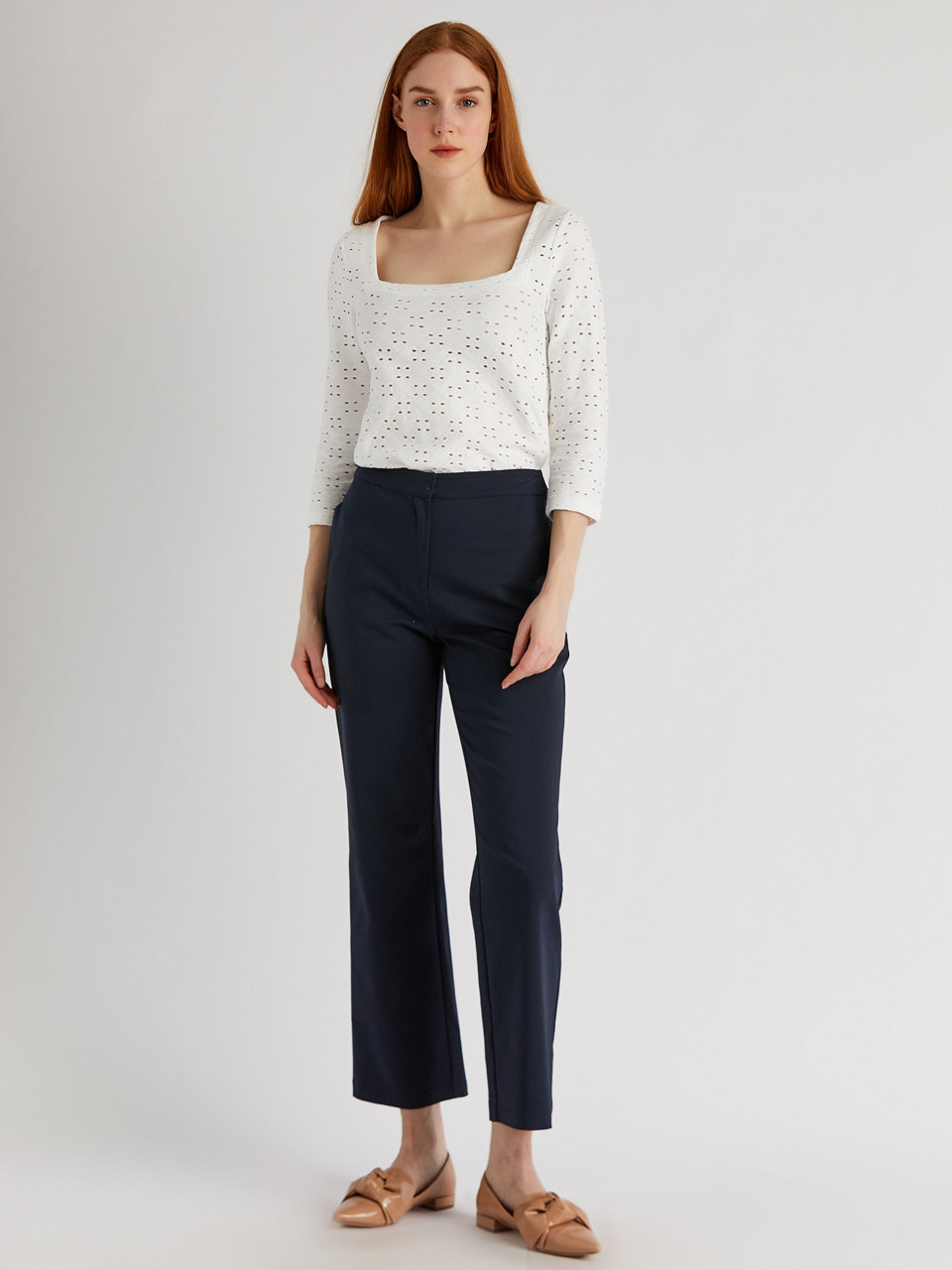 Classic Cut Cotton Trousers