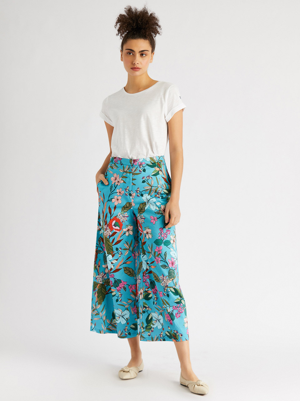 Floral Pattern Skirt Pants