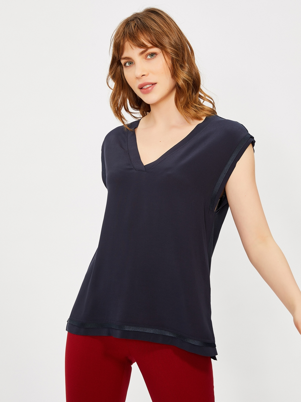 V Neck Knitwear Detail Blouse