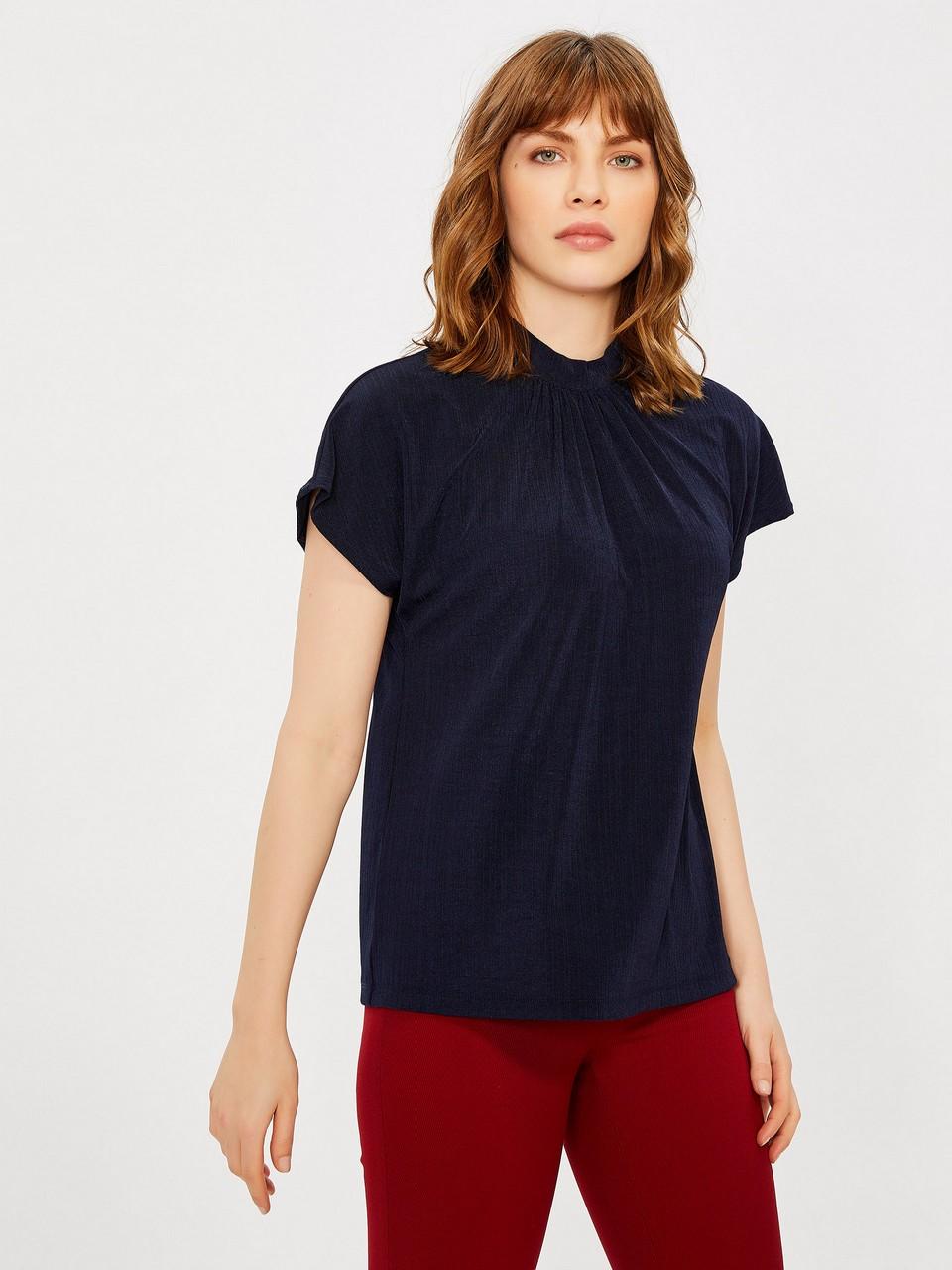 Shortcut Shirring Collar Blouse