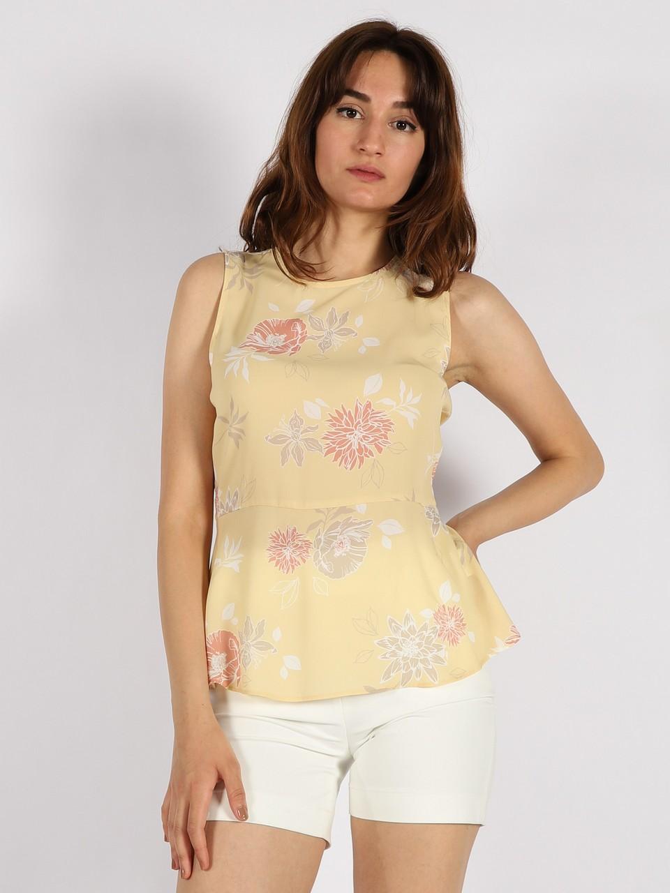 Flower Patterned Sleeveless Blouise
