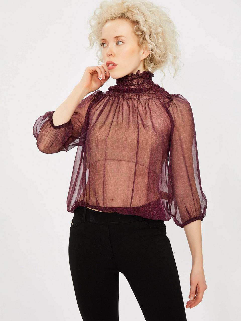 Collar Shirt Chiffon Blouse