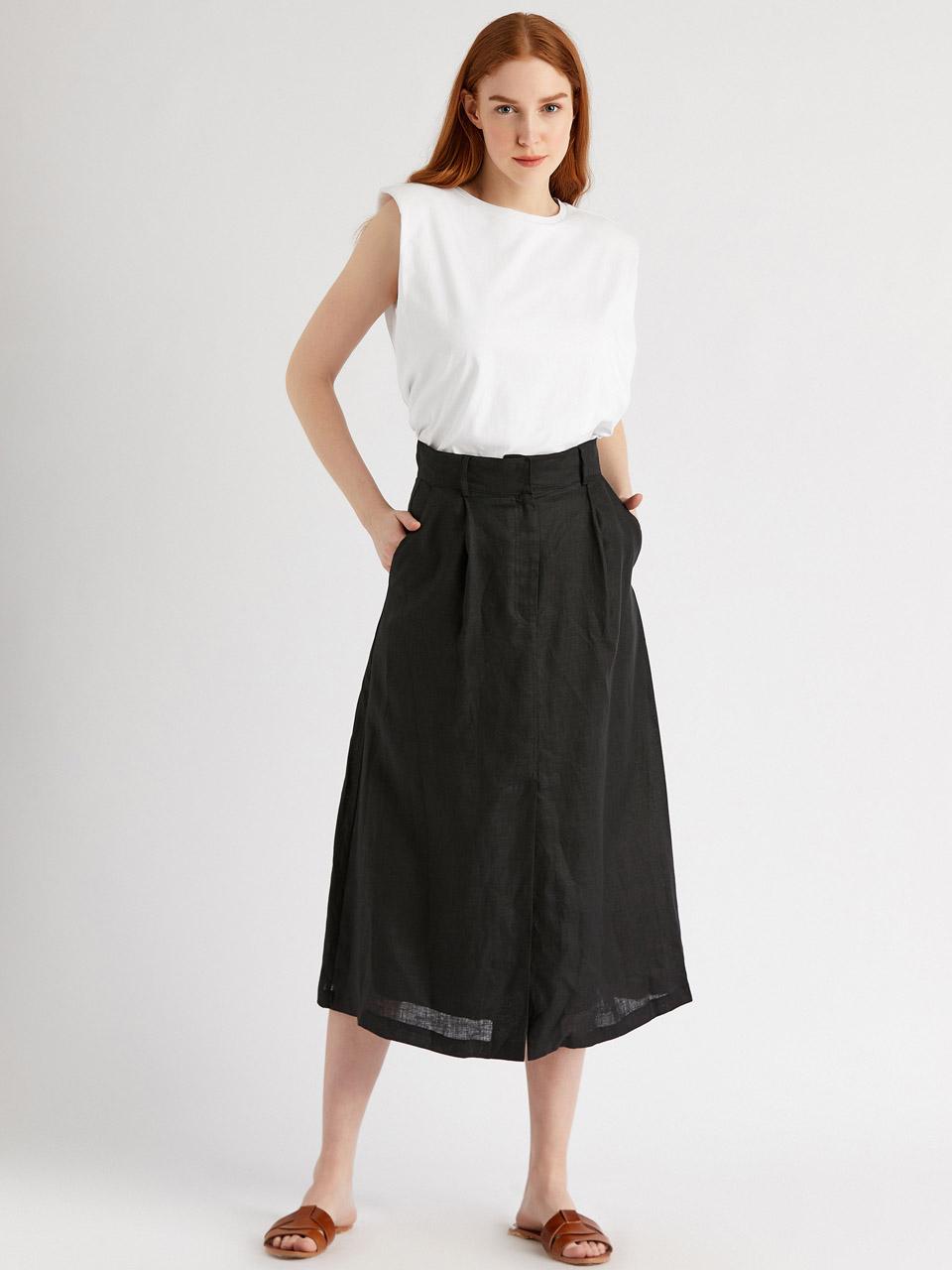 High Waist Linen Skirt