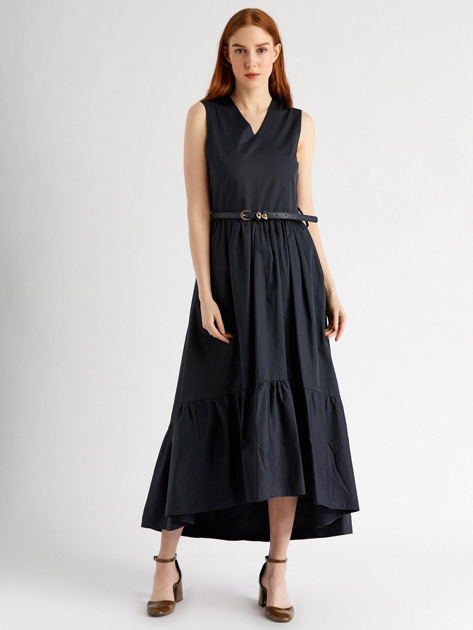 Tie Waist V Neck Dress