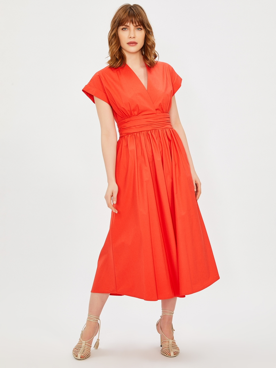 Double Breasted Draped Cotton Dress