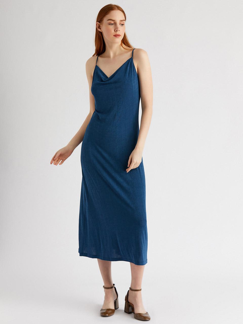 Hanging Midi Length Ribbed Dress