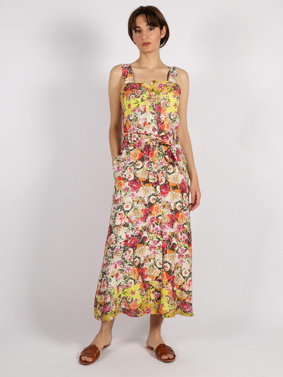 Flower Pattern Halter Dress