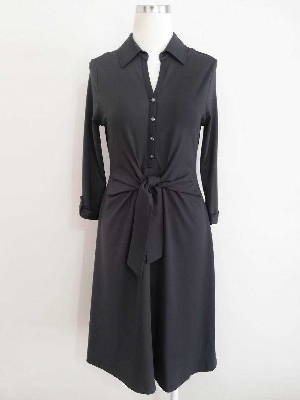 Uzun Kollu Belden Bağalamalı Elbise