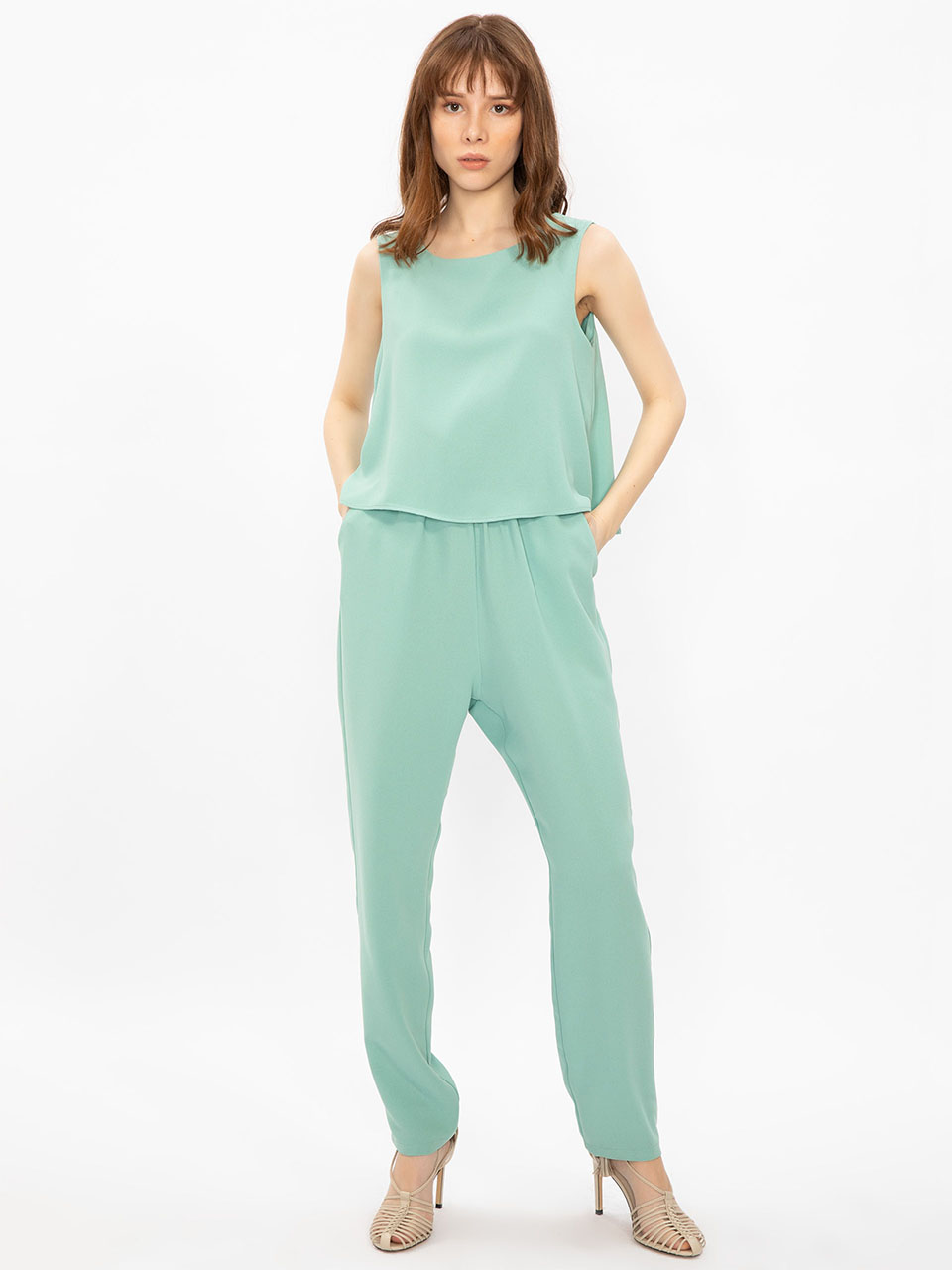 Sleeveless Ruffle Layered Jumpsuit