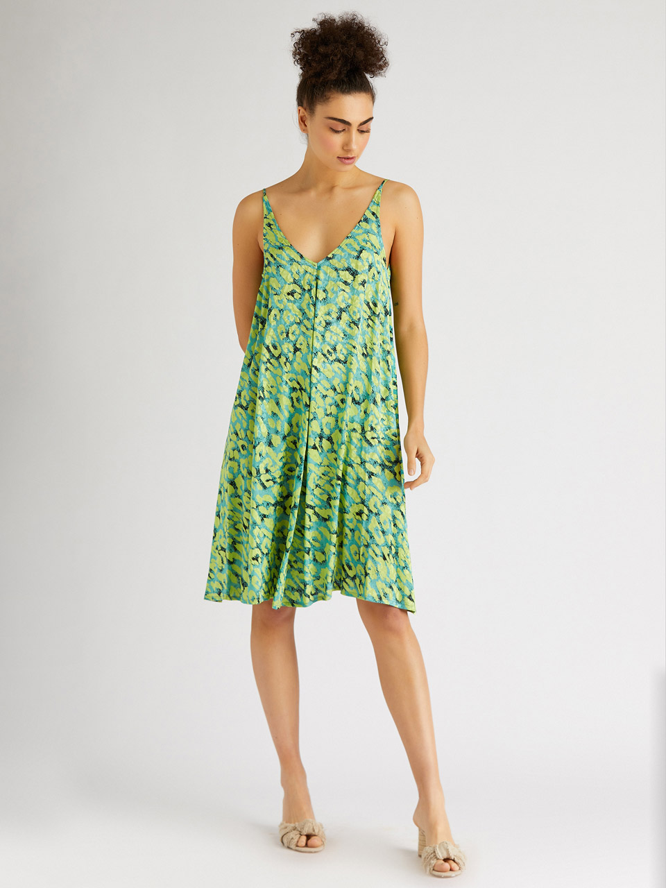 Comfortable Cut Woven Dress with Straps