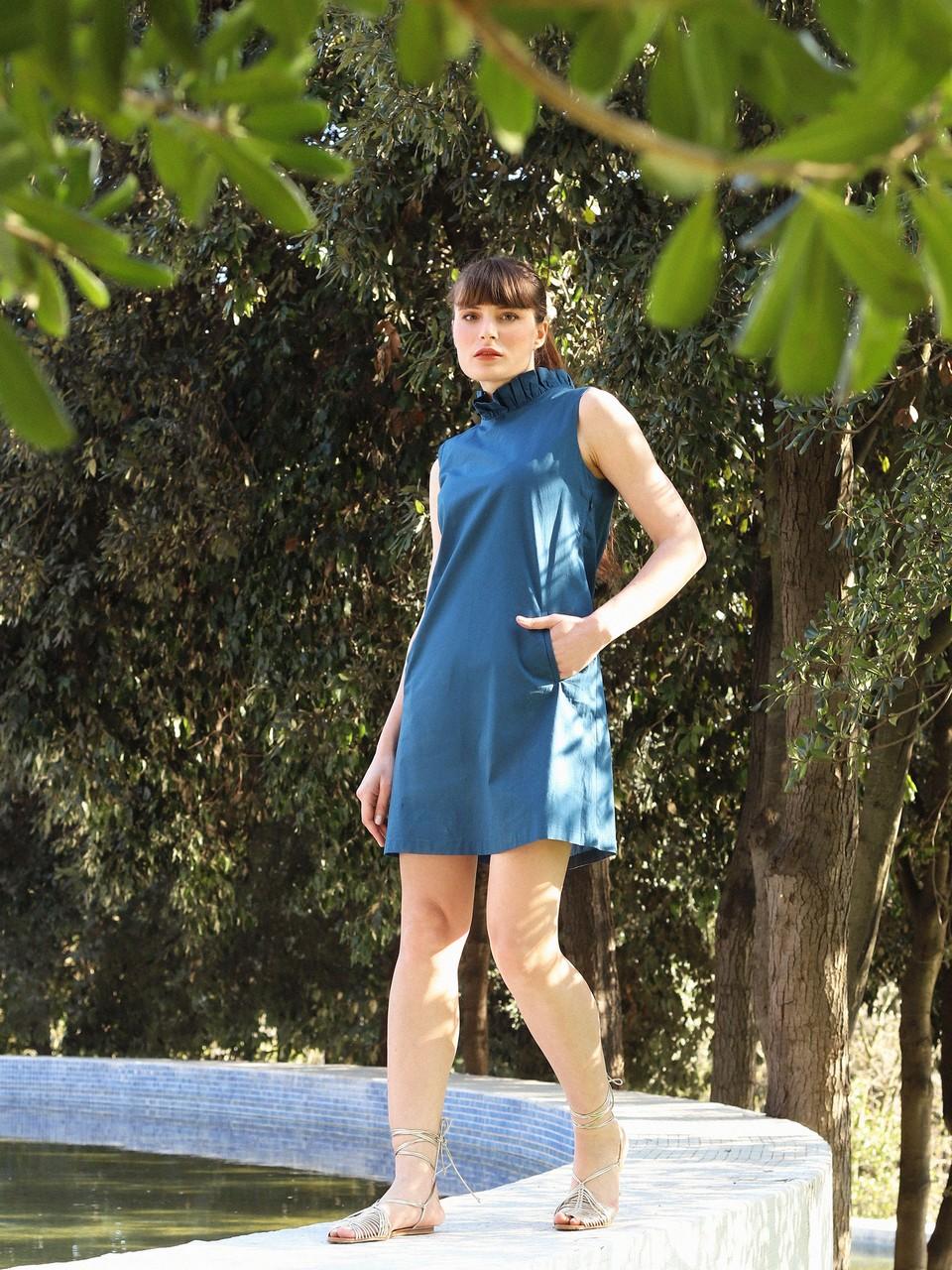 Sleeveless Cotton Mini Dress with Pockets