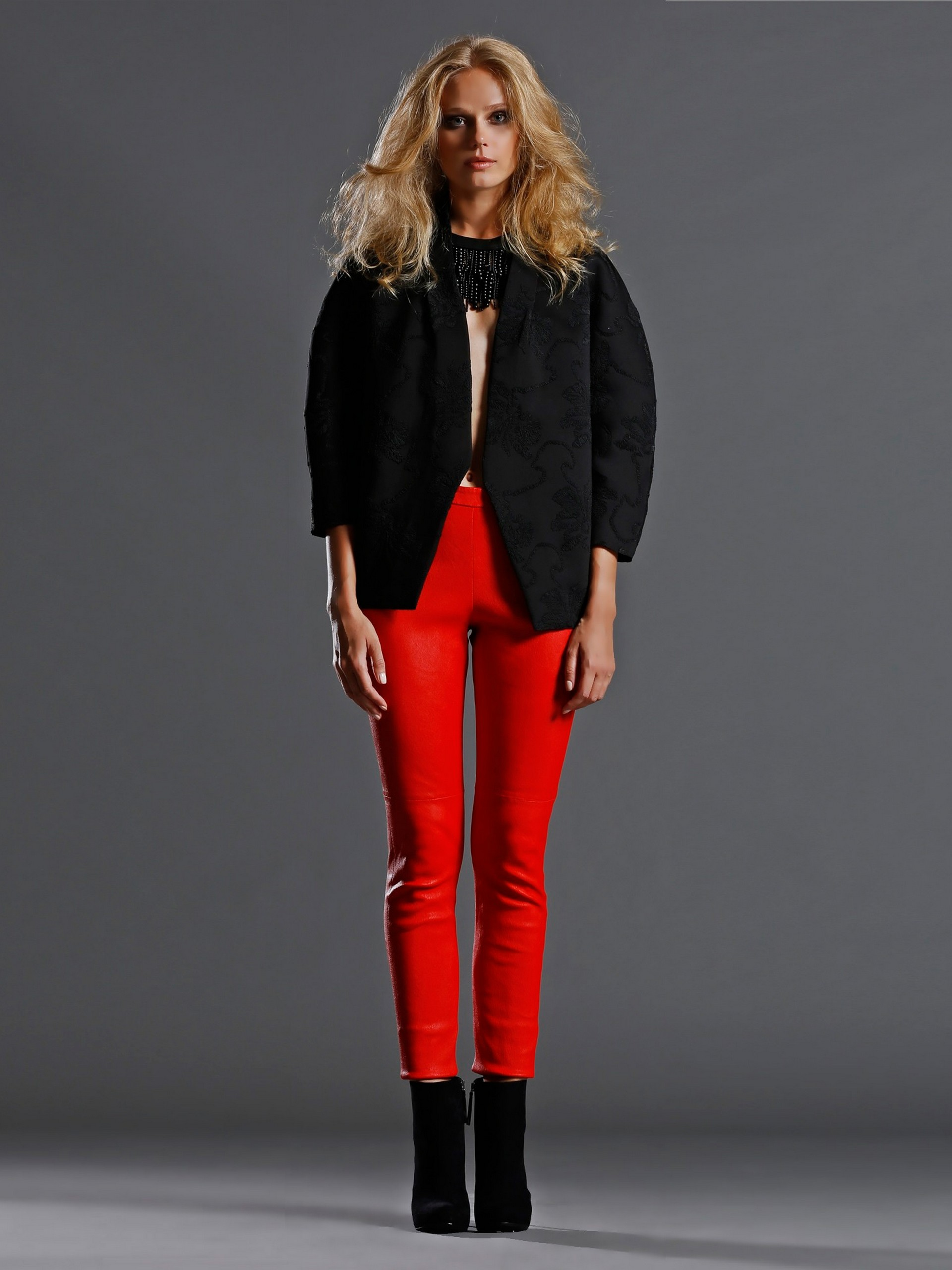 Genuine Leather Trousers with stripes