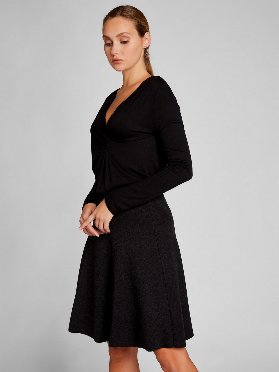 V Yaka Yünlü Basic Bluz
