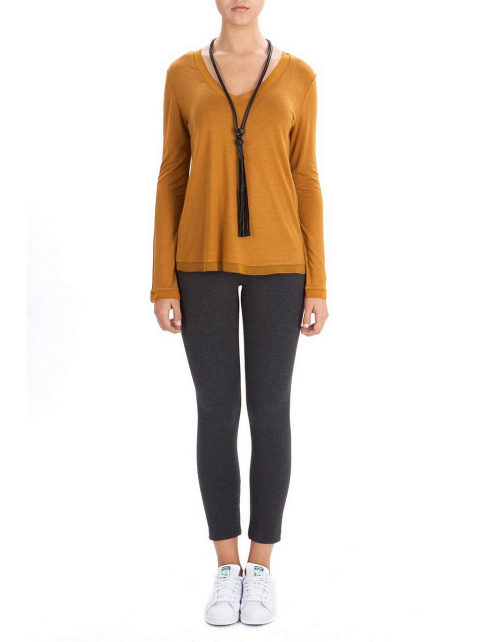 V-Neck Woolen Basic Blouse
