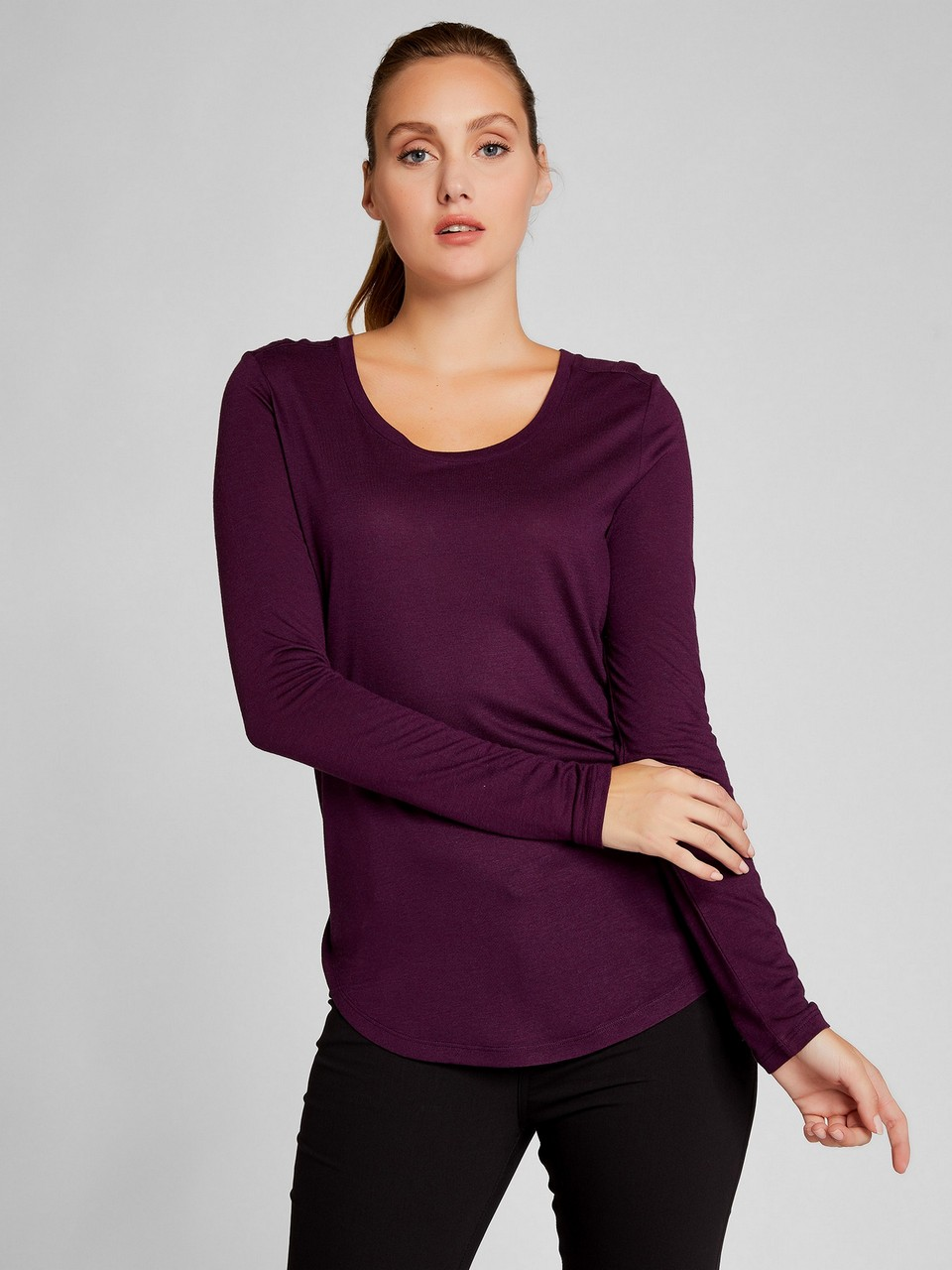 Long Sleeve Woolen Basic Blouse