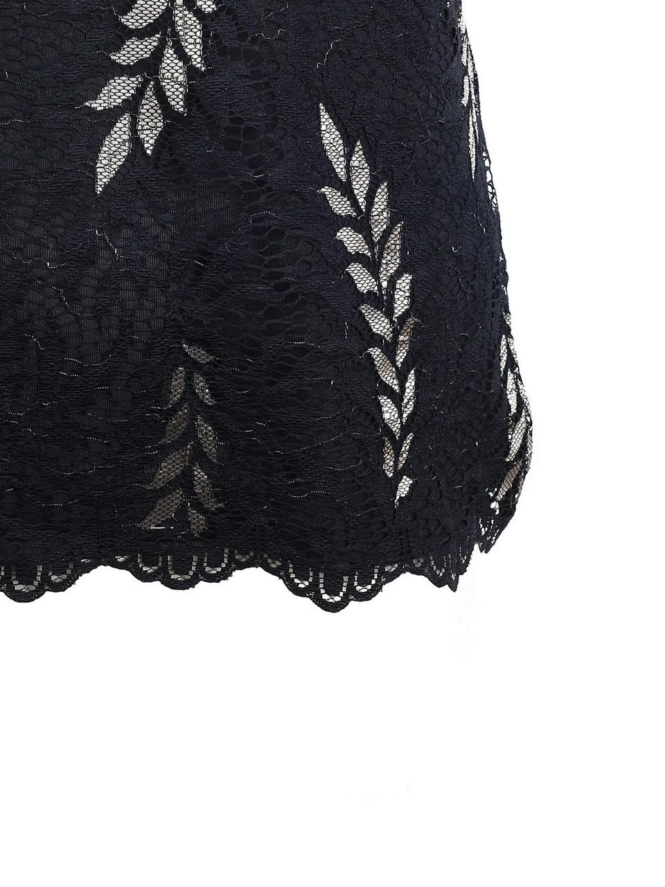 Kayık Yaka Yaprak Desenli Bluz