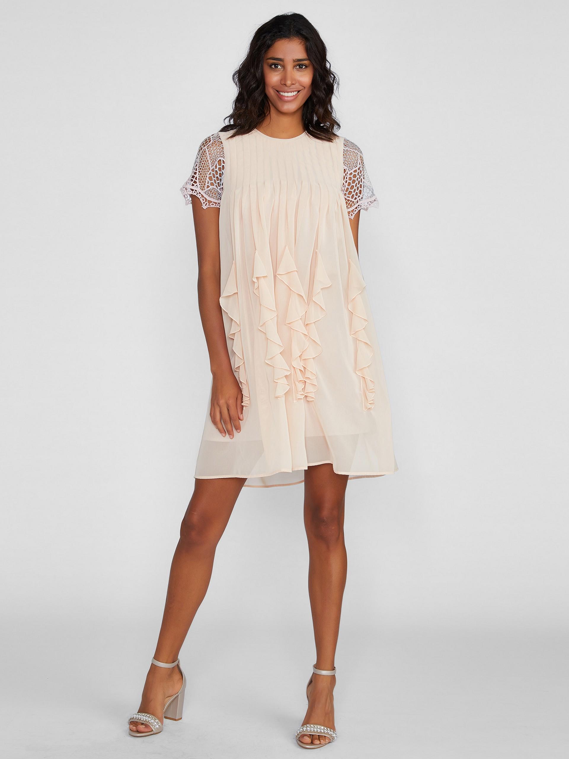 Yarım Kol Sıfır Yaka Volanlı Elbise