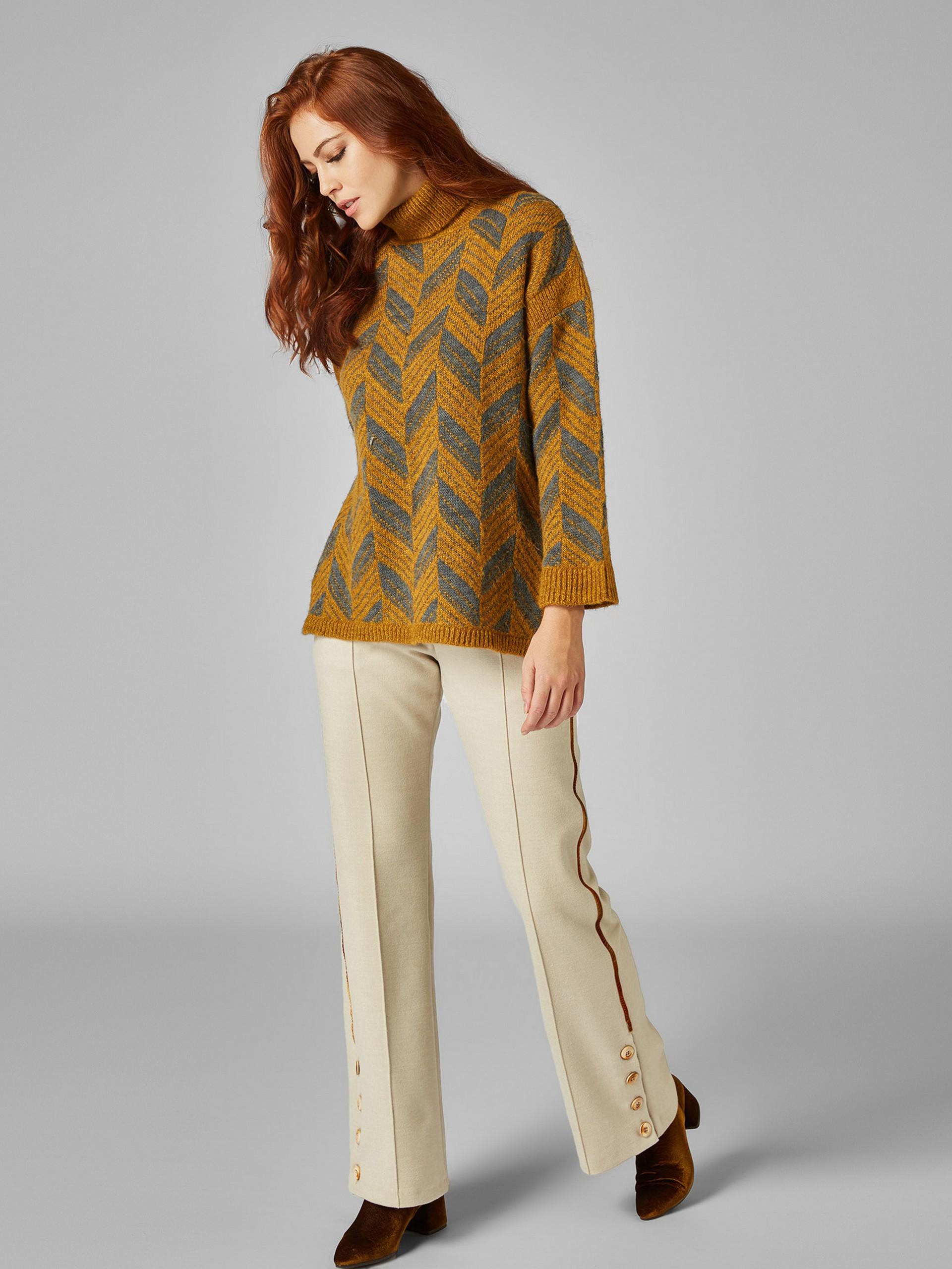 Yanları Şeritli,Paçası Düğme Detaylı Kaşe Pantolon
