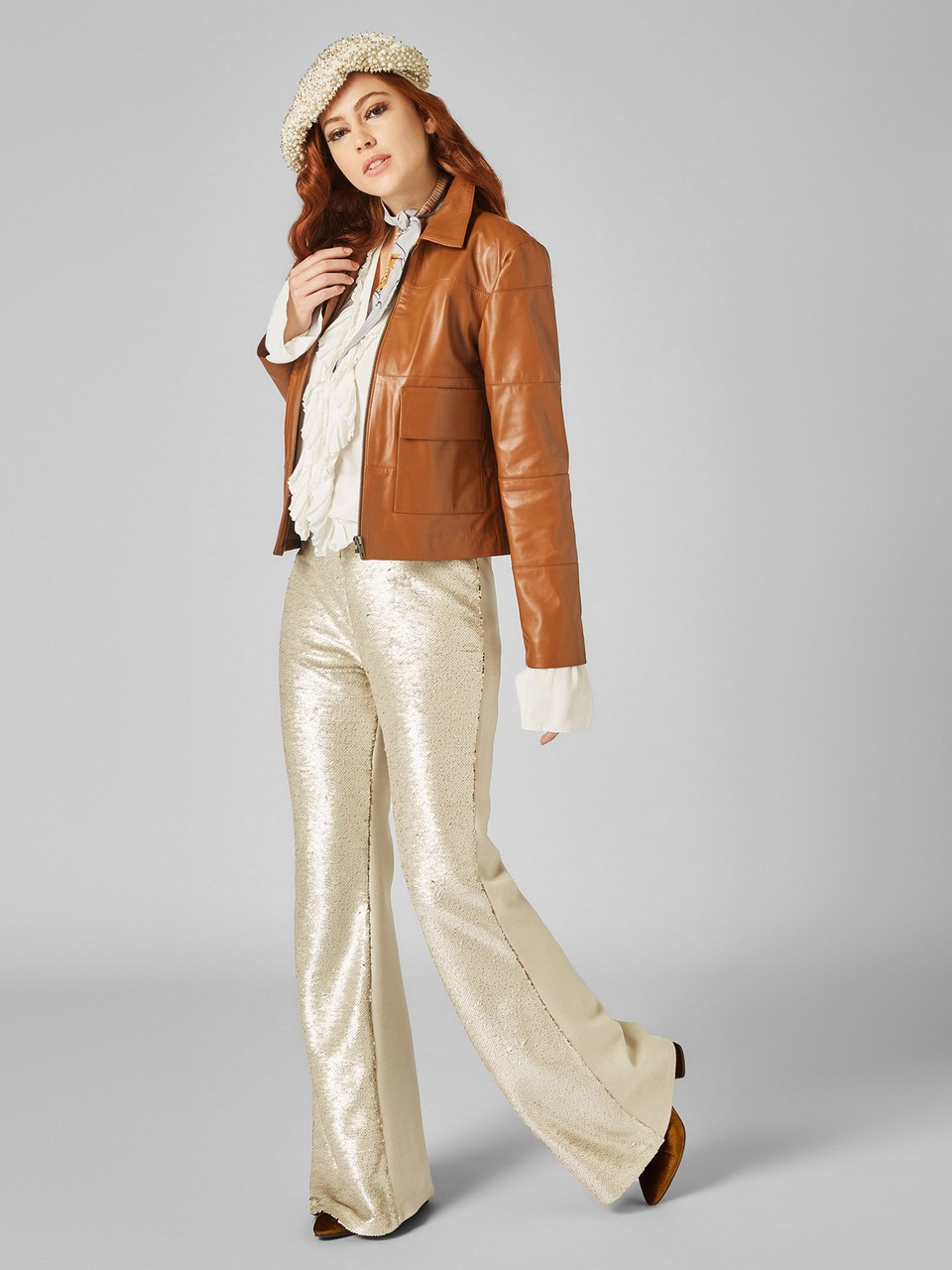 Sequined Scarf Front Cachet Back Elastic Waist Wide Leg Trousers