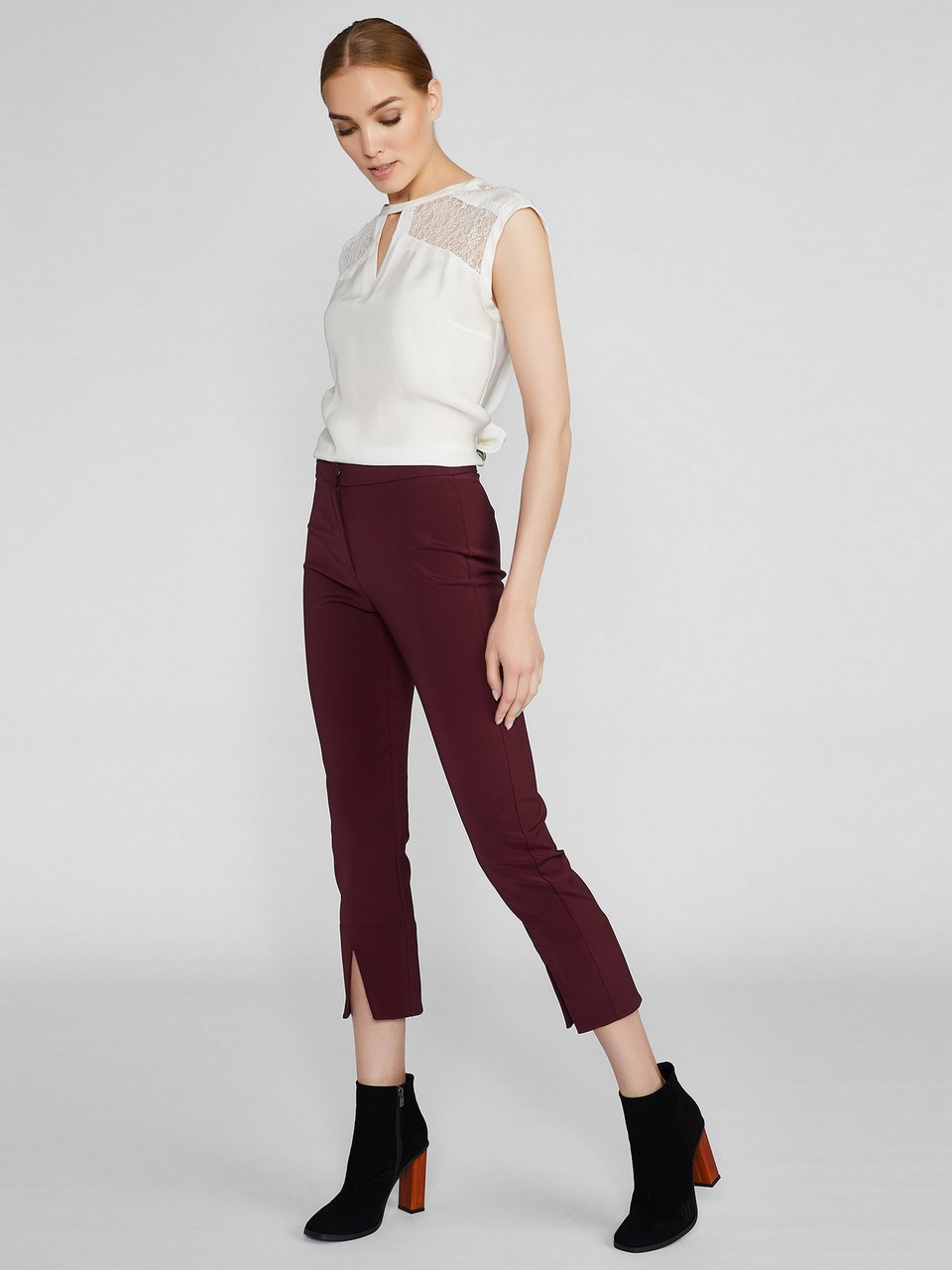 Slim Fit Trousers With Slit Lower Side
