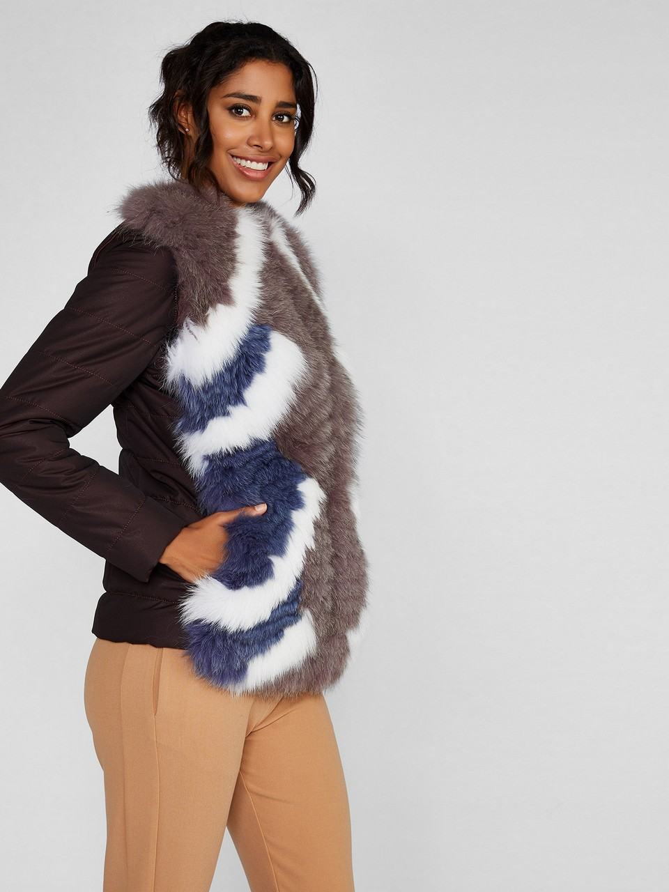 Removable Sleeve Puffer Coat With Fur