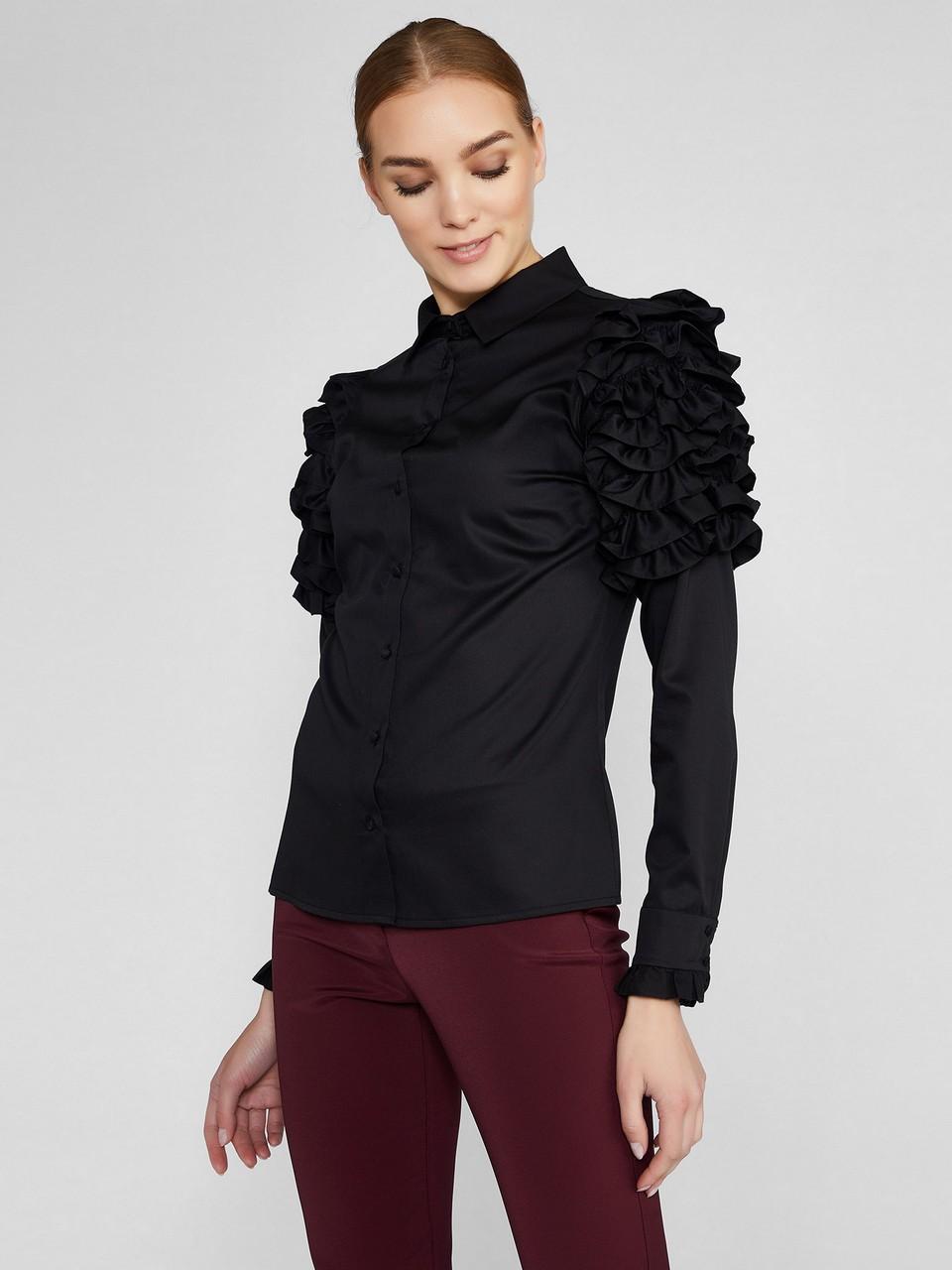 Kolları Fırfırlı Koton Gömlek