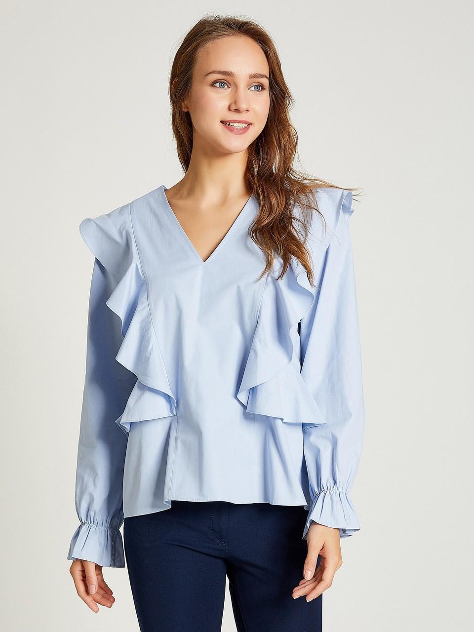 V Yaka Triko Fırfırlı Bluz