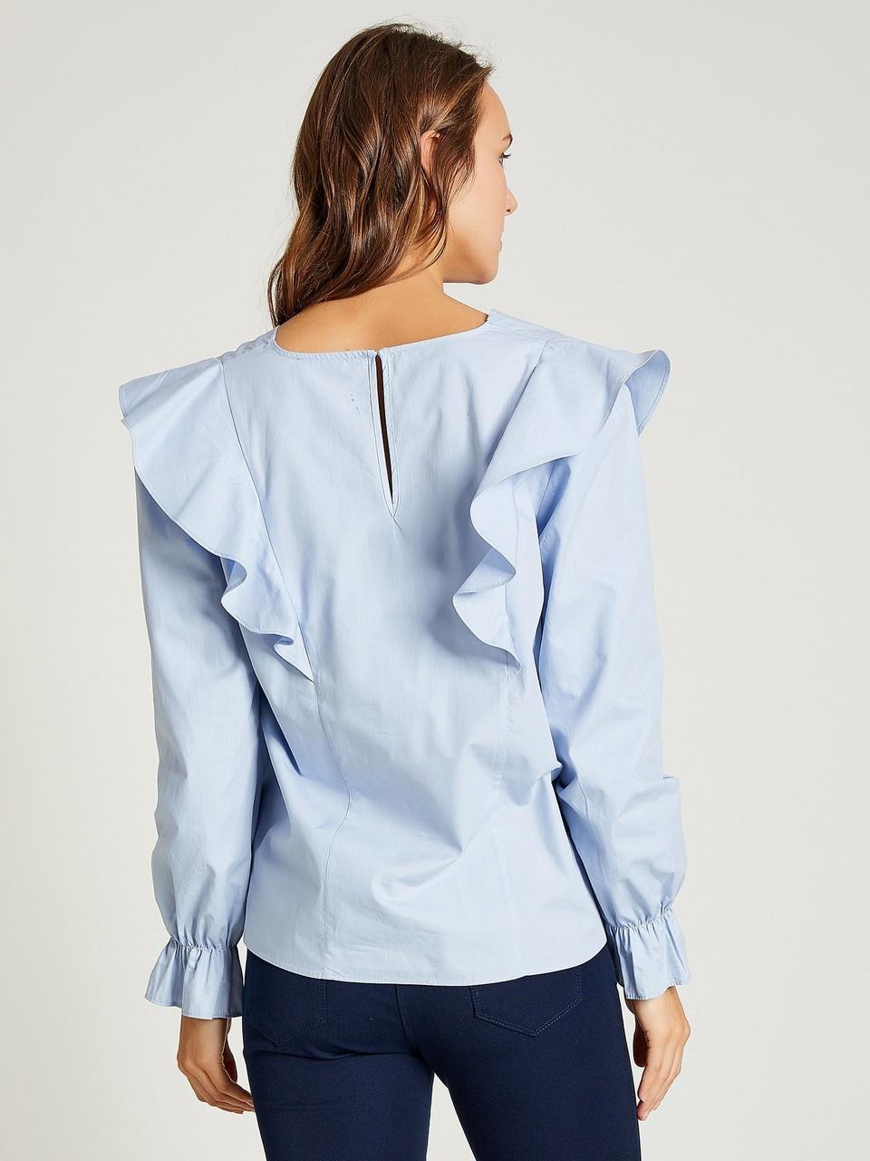 V Yaka Fırfırlı Bluz