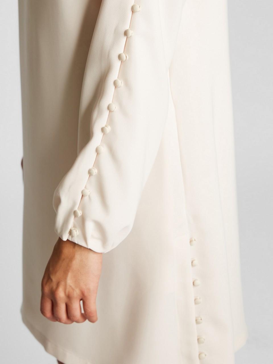 Kayık Yaka Uzun Kol Krep Elbise