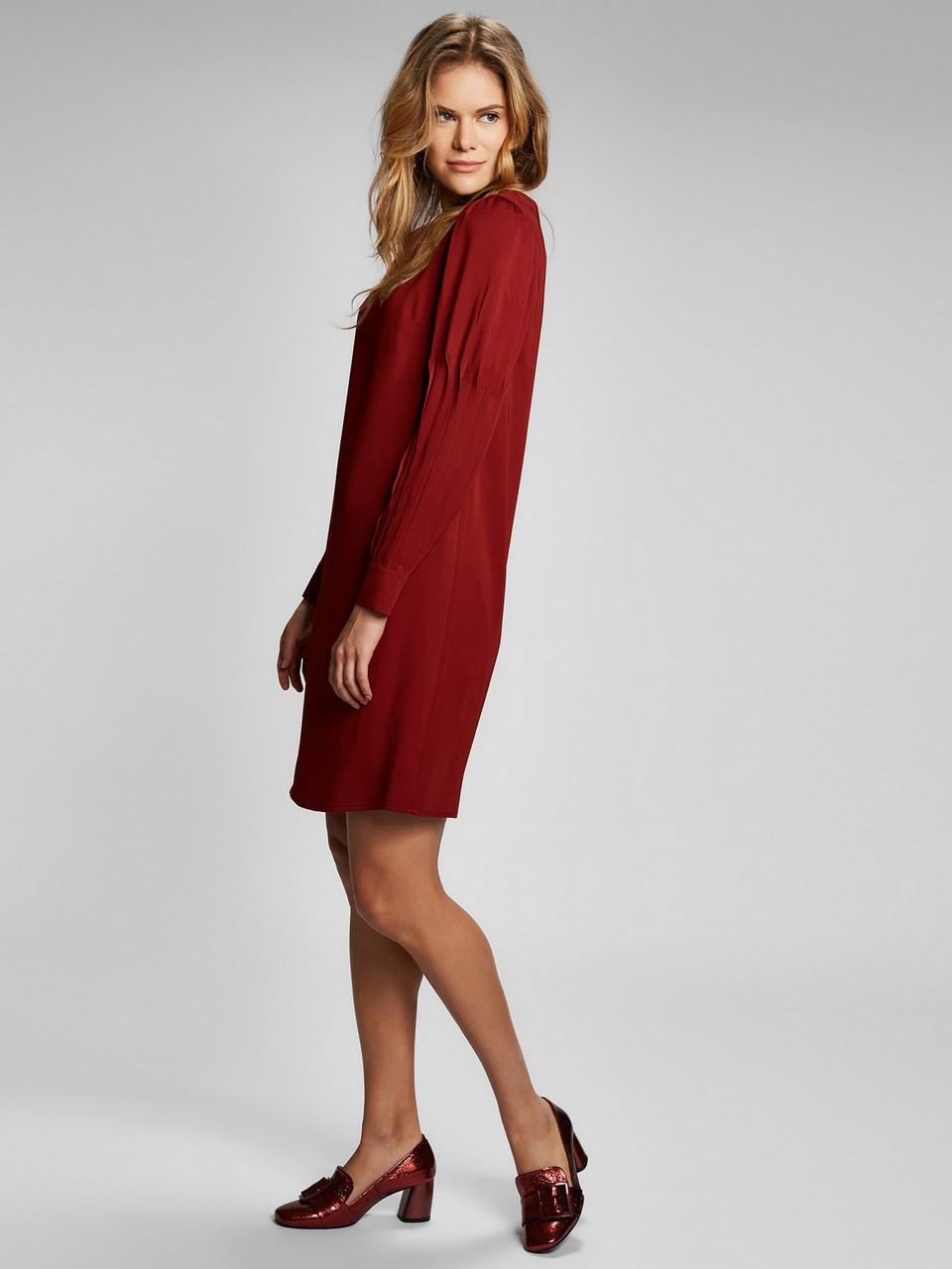 Uzun kollu kayık yaka midi elbise