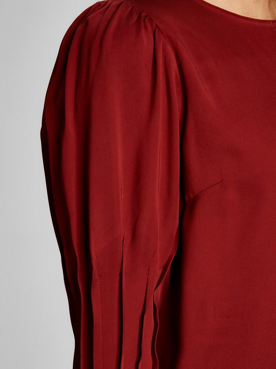 Uzun Kollu Kayık Yaka Krep Elbise