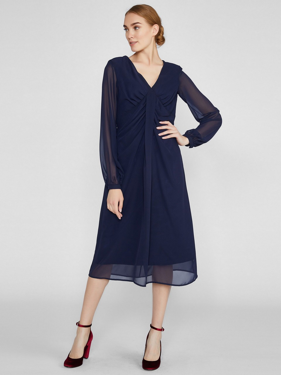 Gathered Midi Chiffon Dress