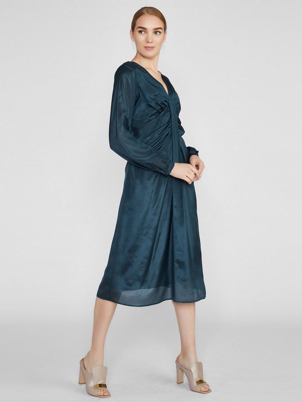 V Yaka Uzun Kollu Midi Boy Şifon Elbise