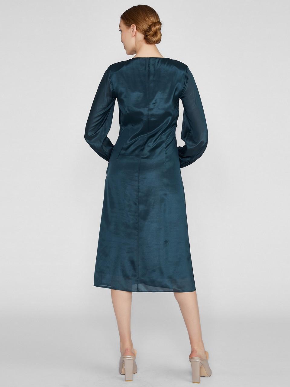Büzgülü Midi Şifon Elbise