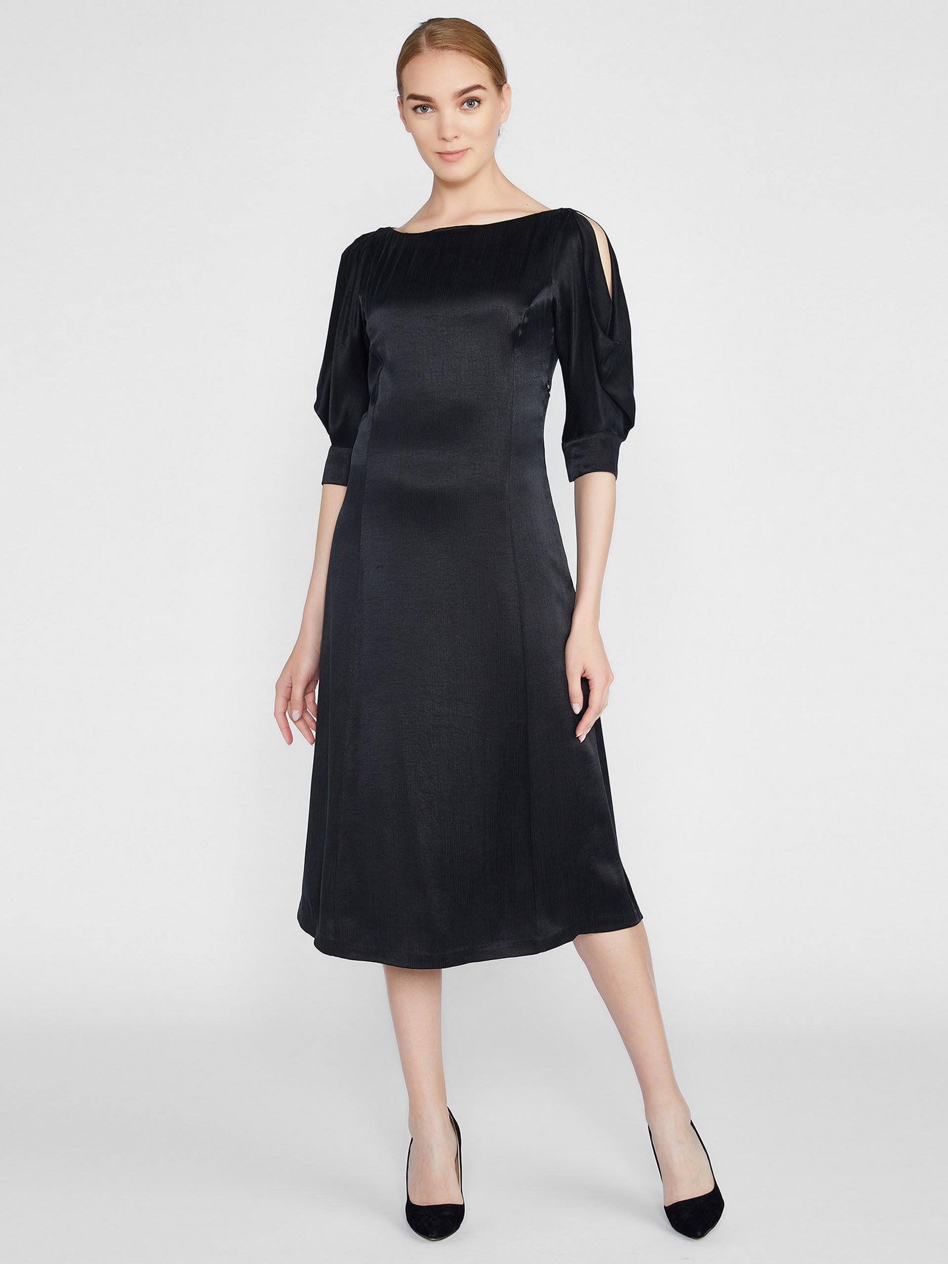Kayık Yaka Kupro Elbise