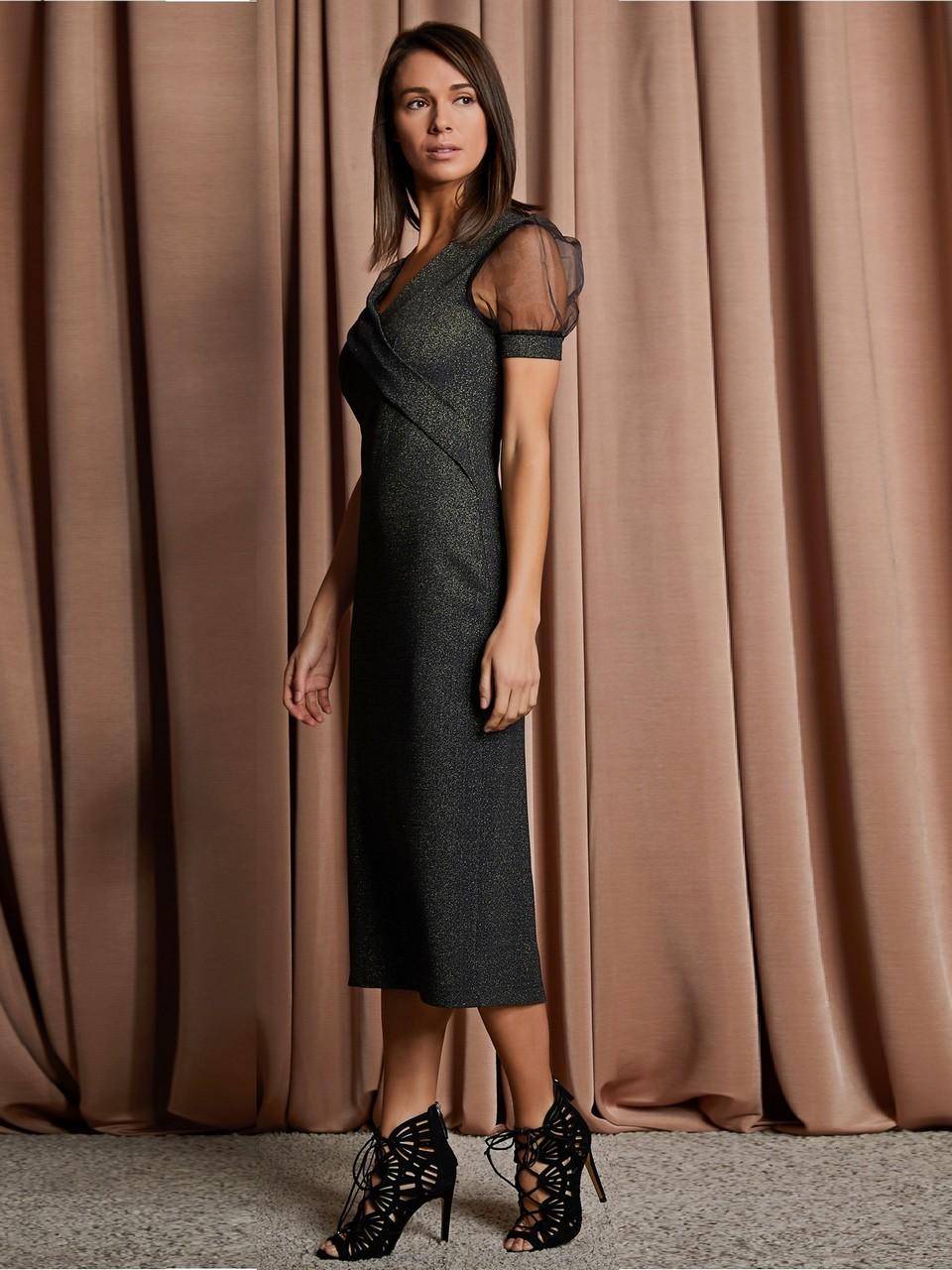 V Yaka Şifon Kollu Uzun Elbise