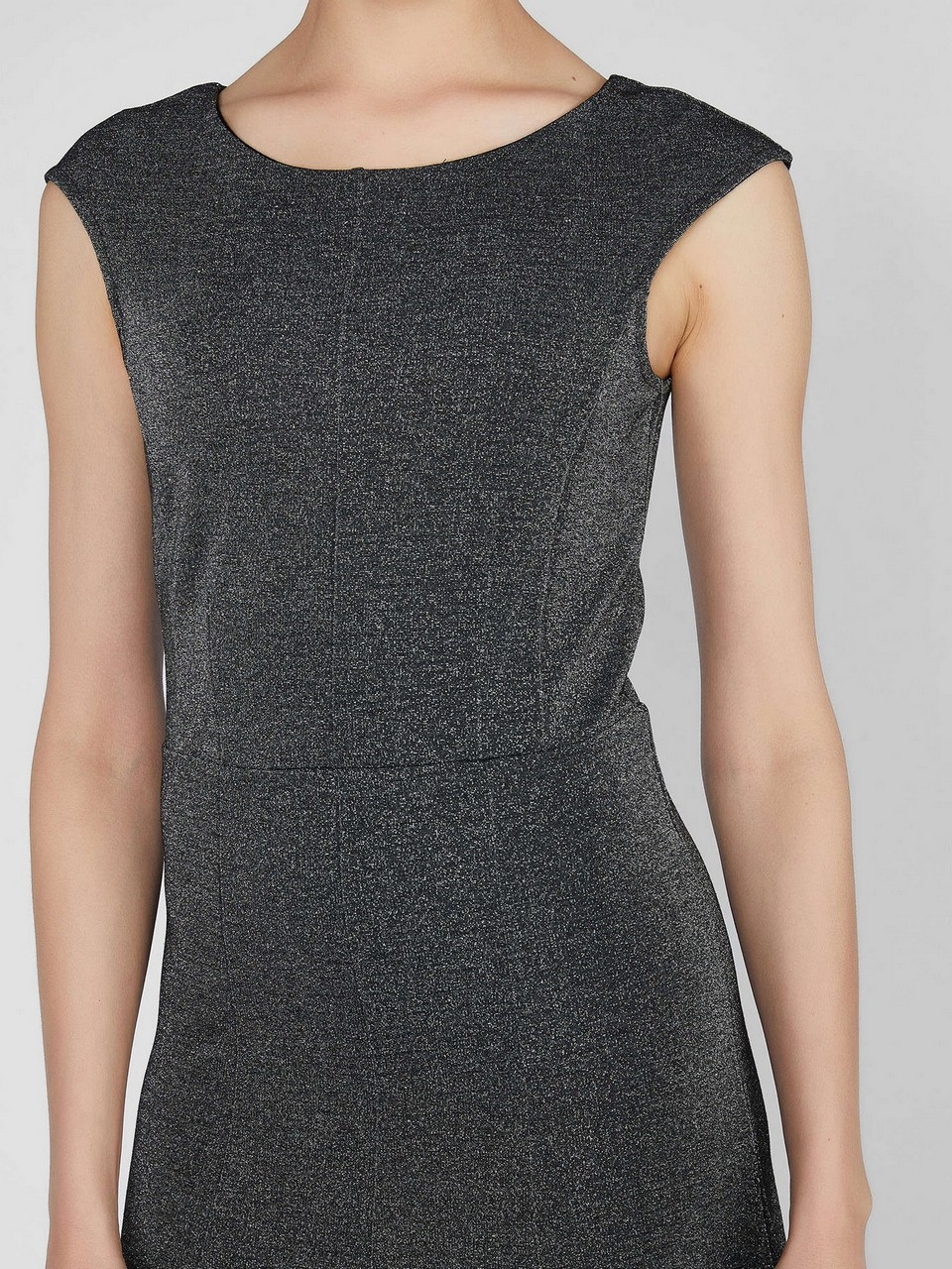 Kayık Yaka Kolsuz Midi Elbise