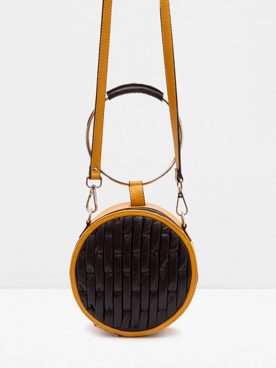 Round Form Genuine Leather Bag With Round Handle