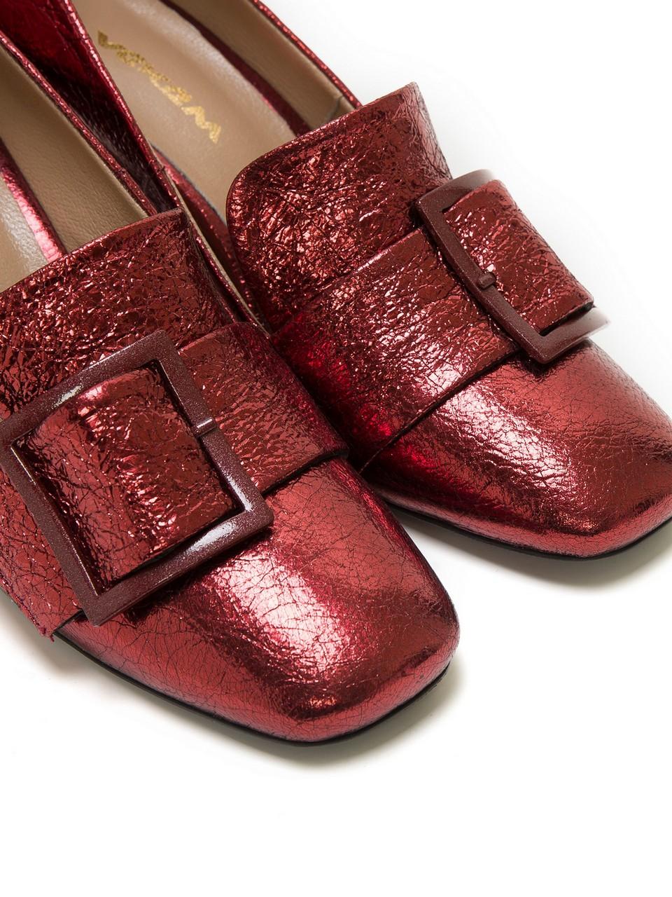 Çatlama Efektli Tokalı Topuklu Ayakkabı