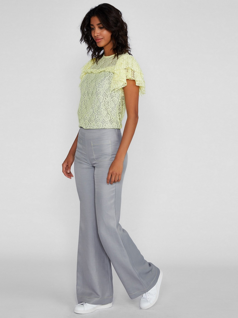 Linen Trousers With Front Pocket Details