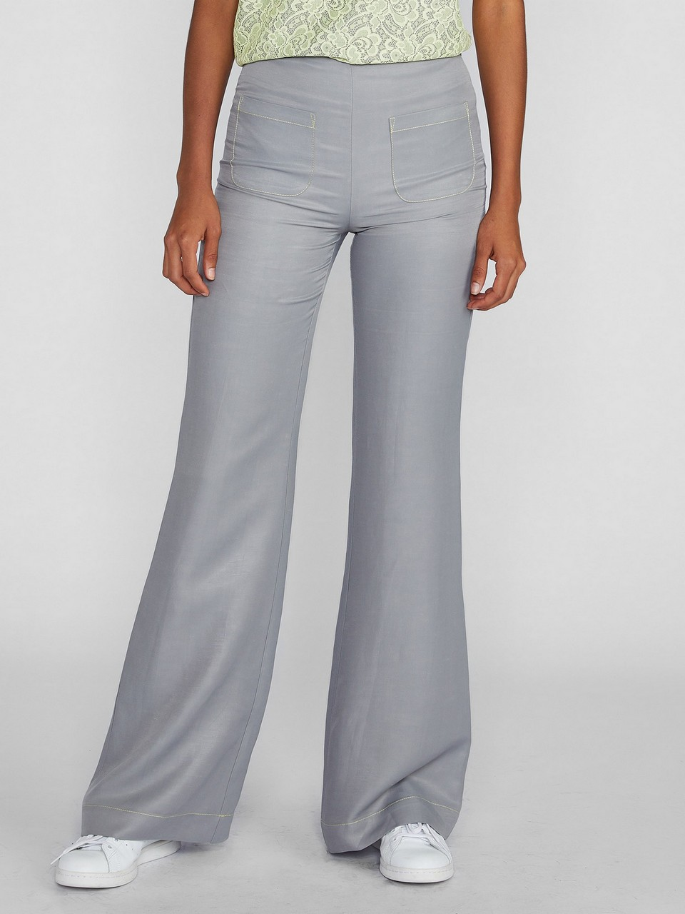 Önde Cep Detaylı Keten Pantolon
