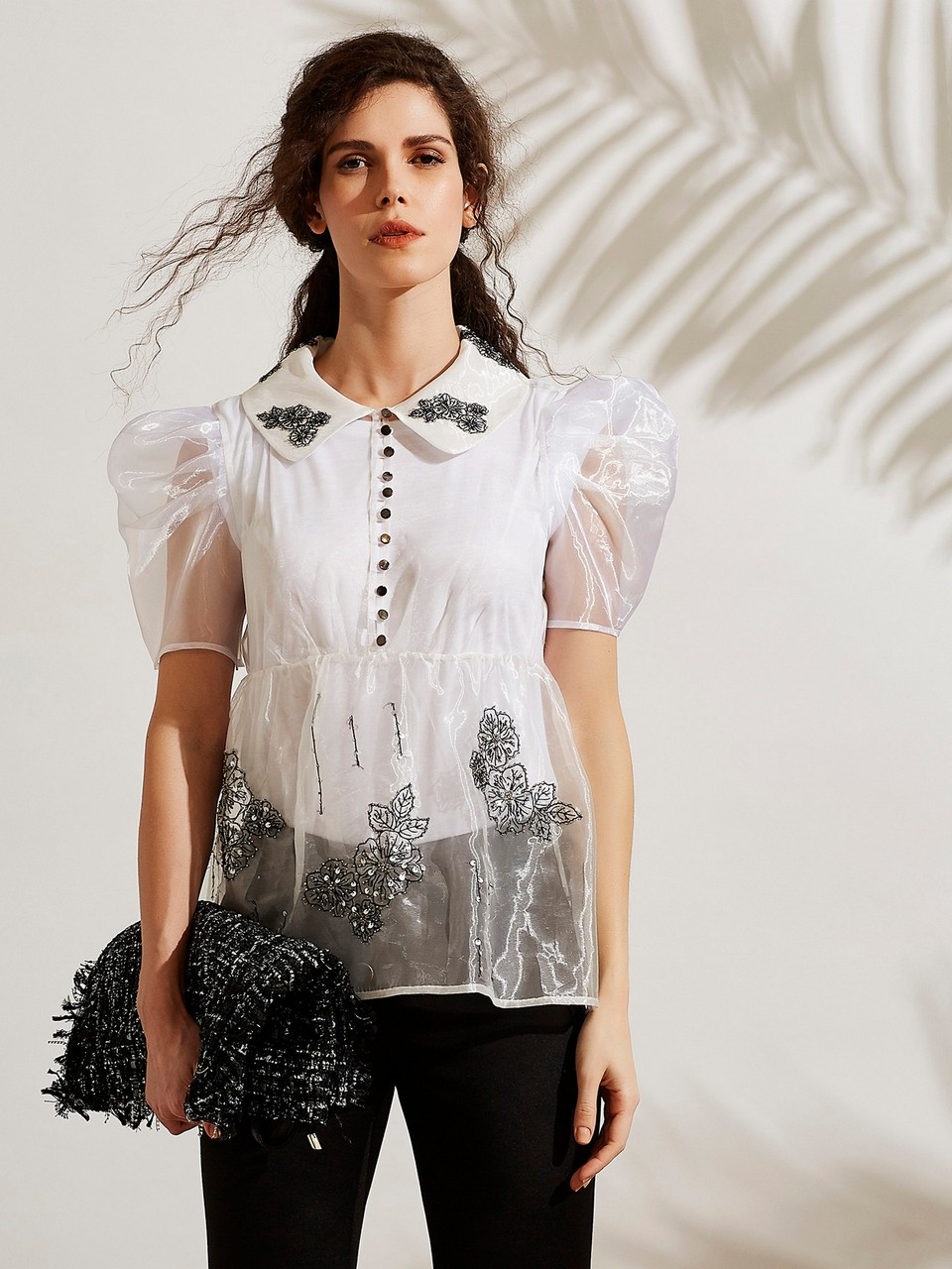 Embroidery Detailed Organza Shirt