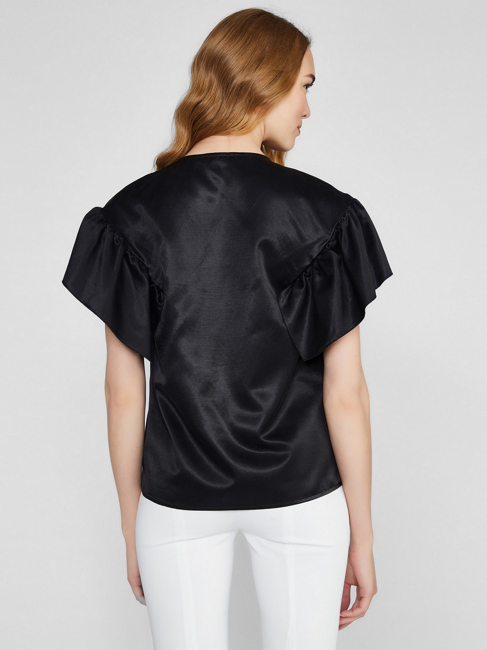 Volanlı Pamuk Kupra Bluz