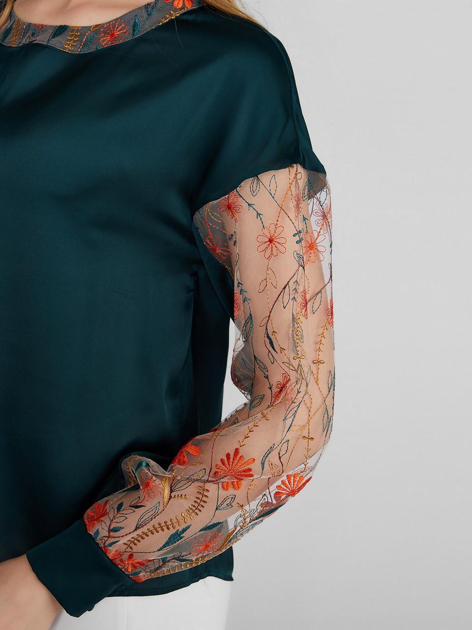 Şifon Kol Detaylı Uzun Kollu Saten Bluz
