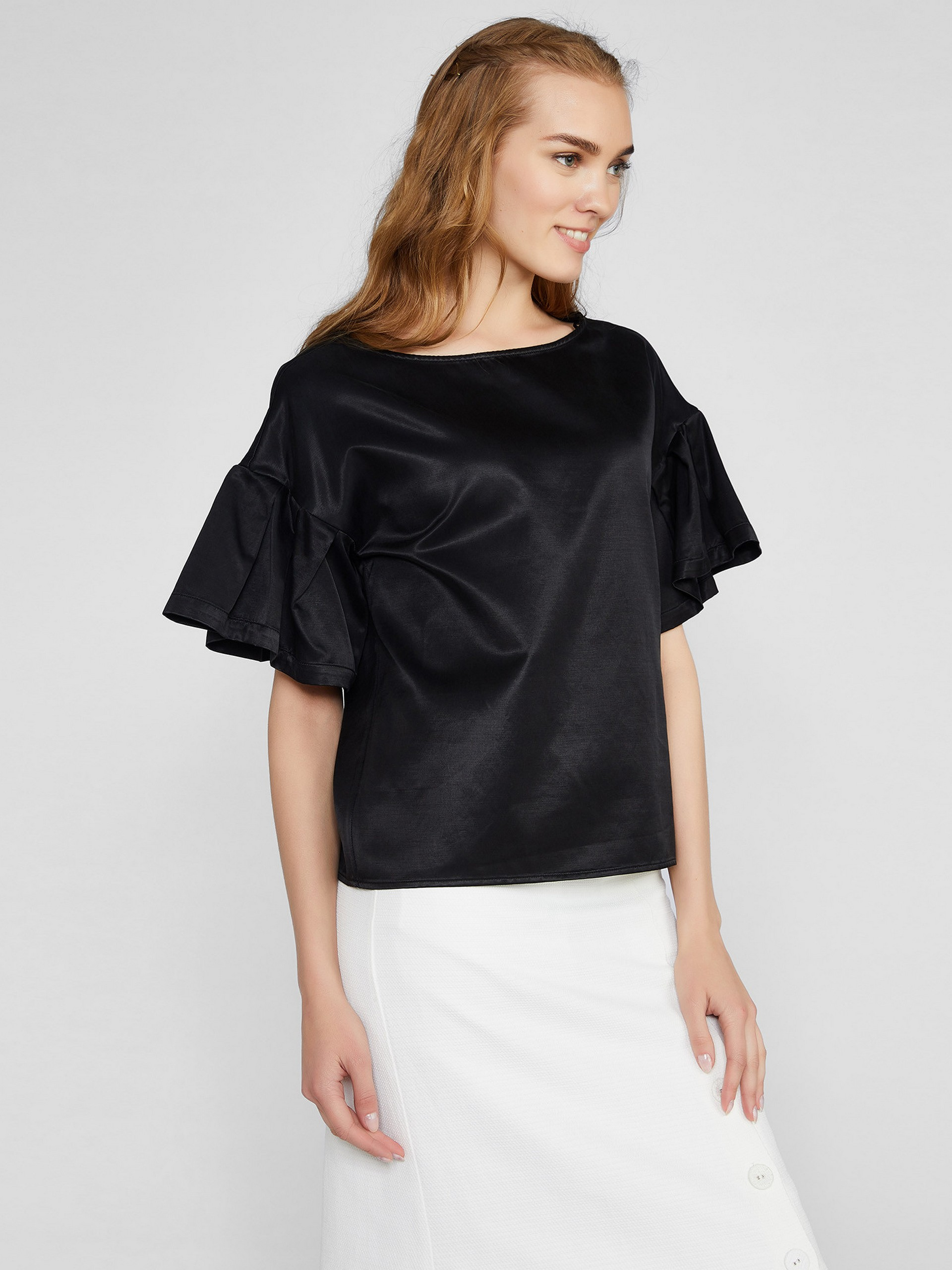 Cupro Cotton Blouse With Ruffle