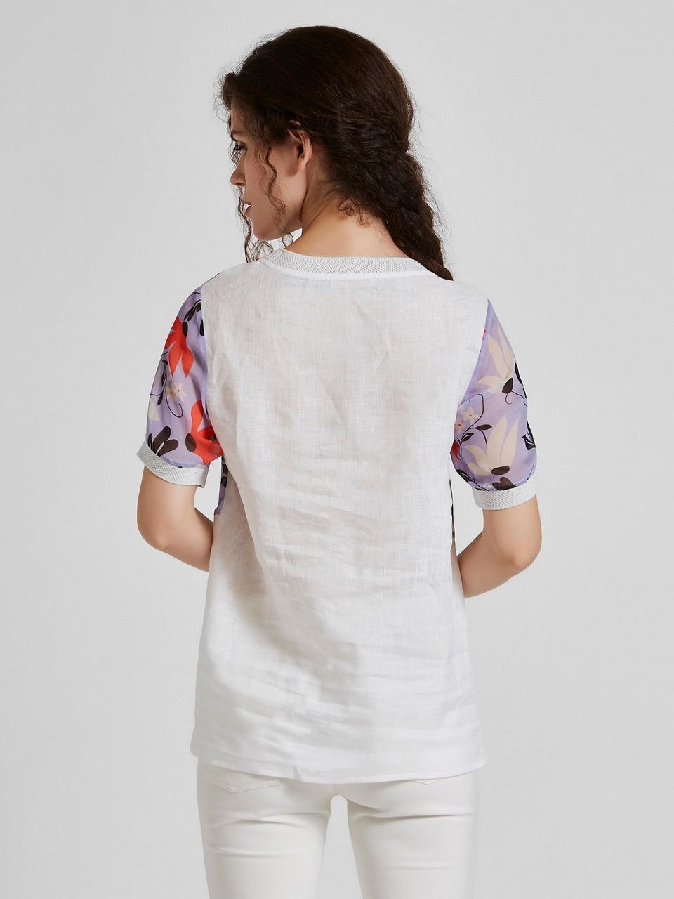 Sıfır Yaka Çiçek Desenli Şifon Bluz