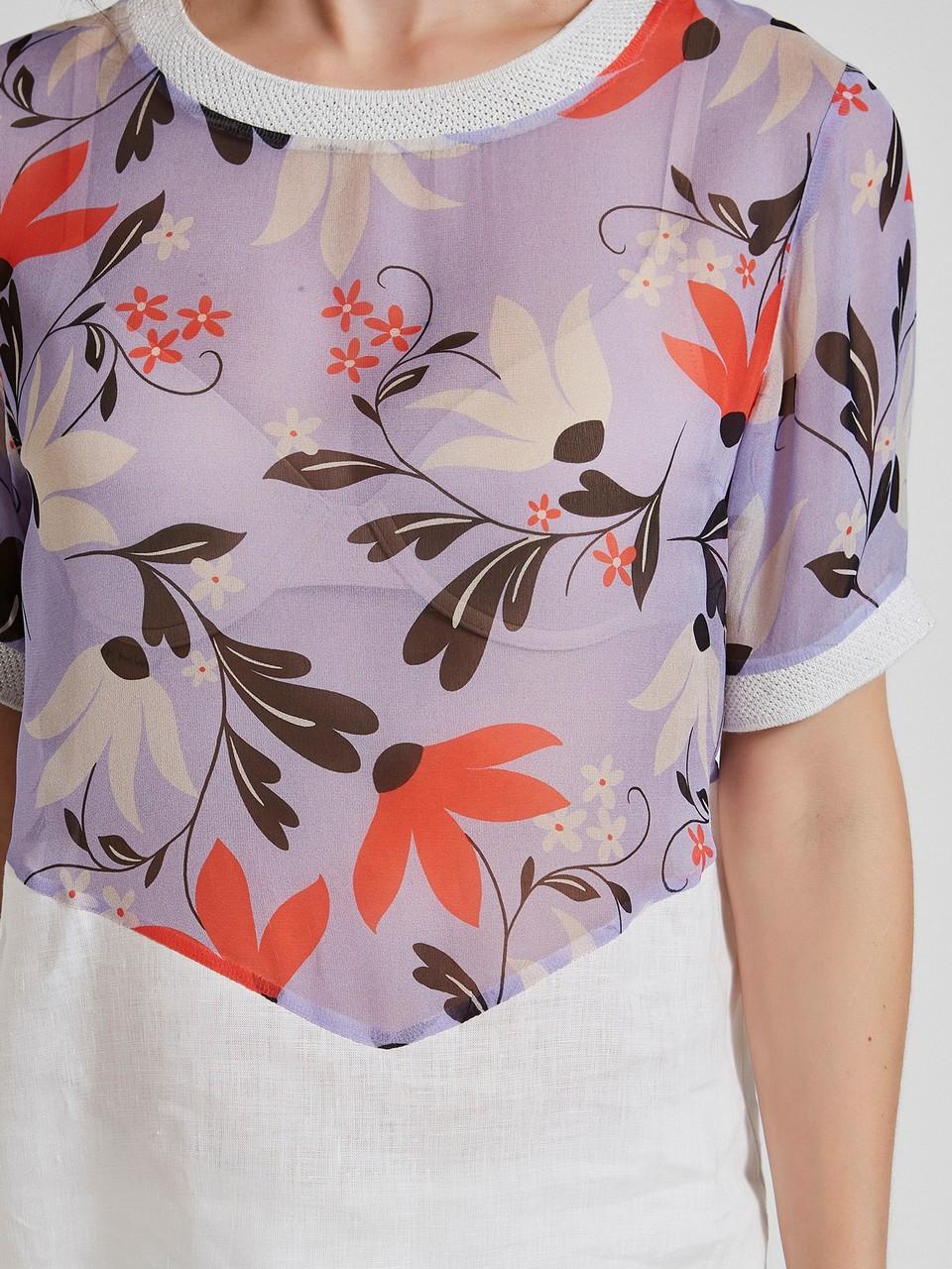 Çiçek Desenli Şifon Keten Bluz