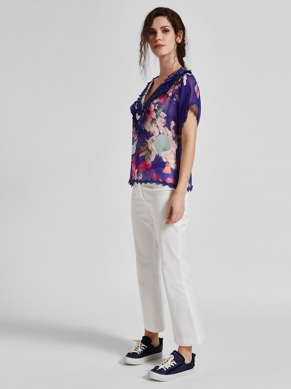 Çiçek Desenli Şifon Bluz