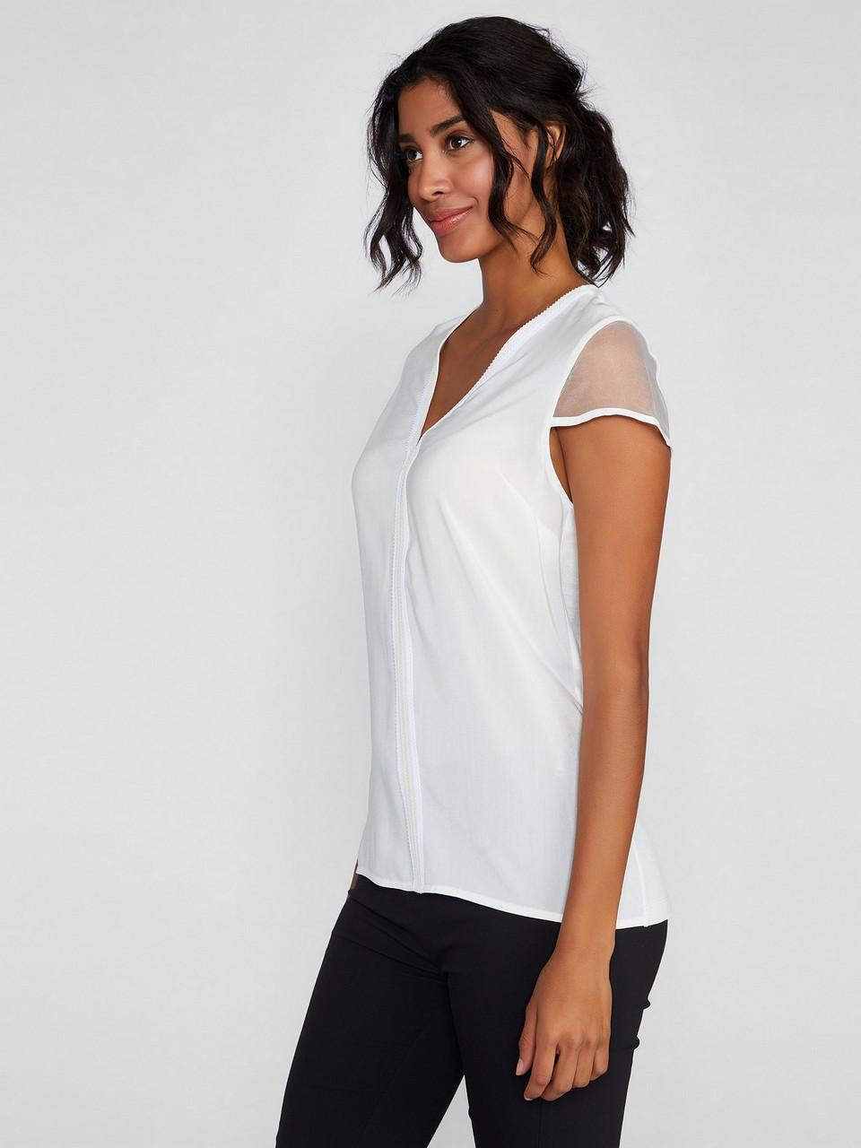 V Yaka Şifon Kol Detaylı Asimetik Şeritli Bluz