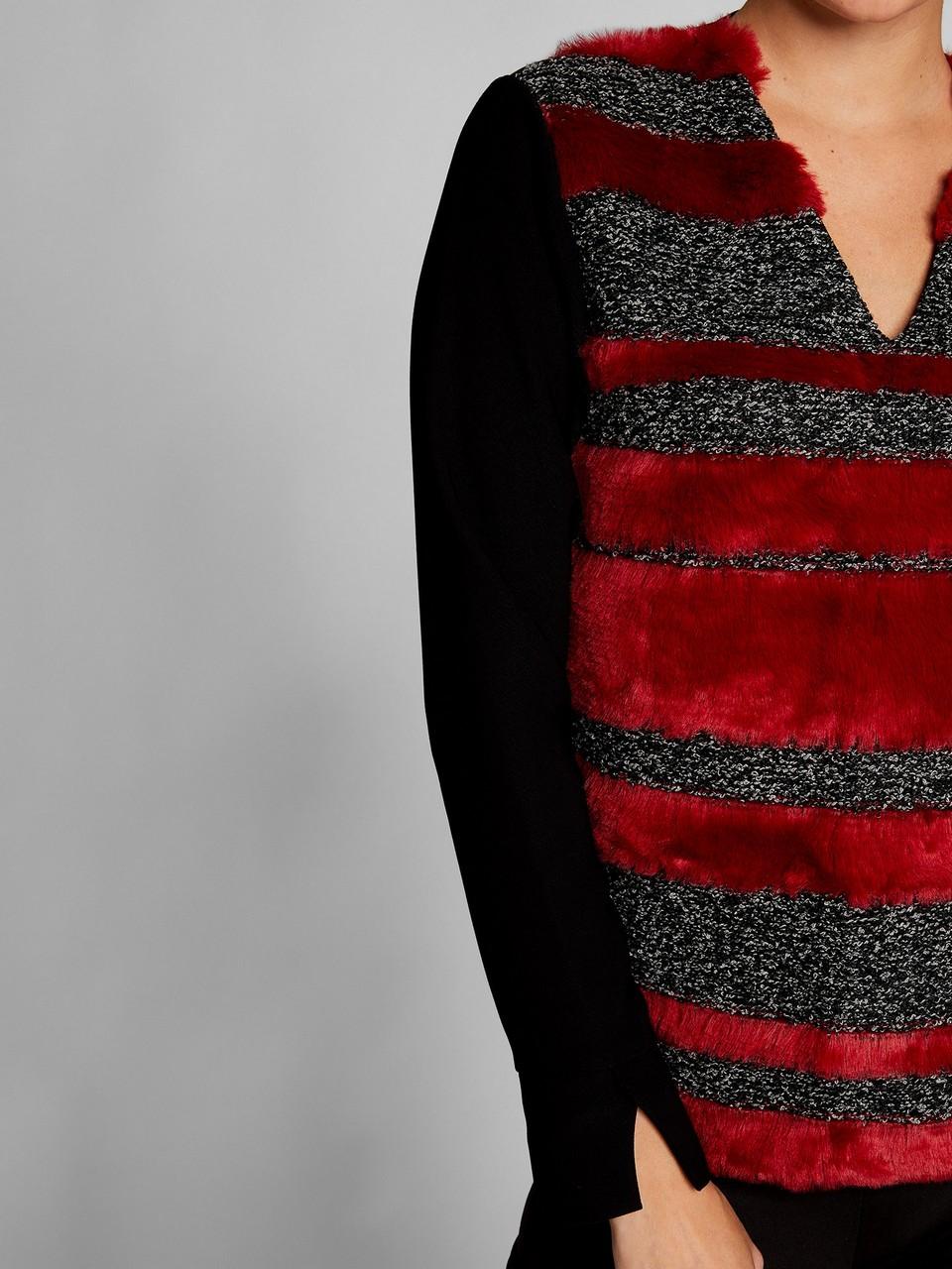 Kürk Detaylı Krep Bluz
